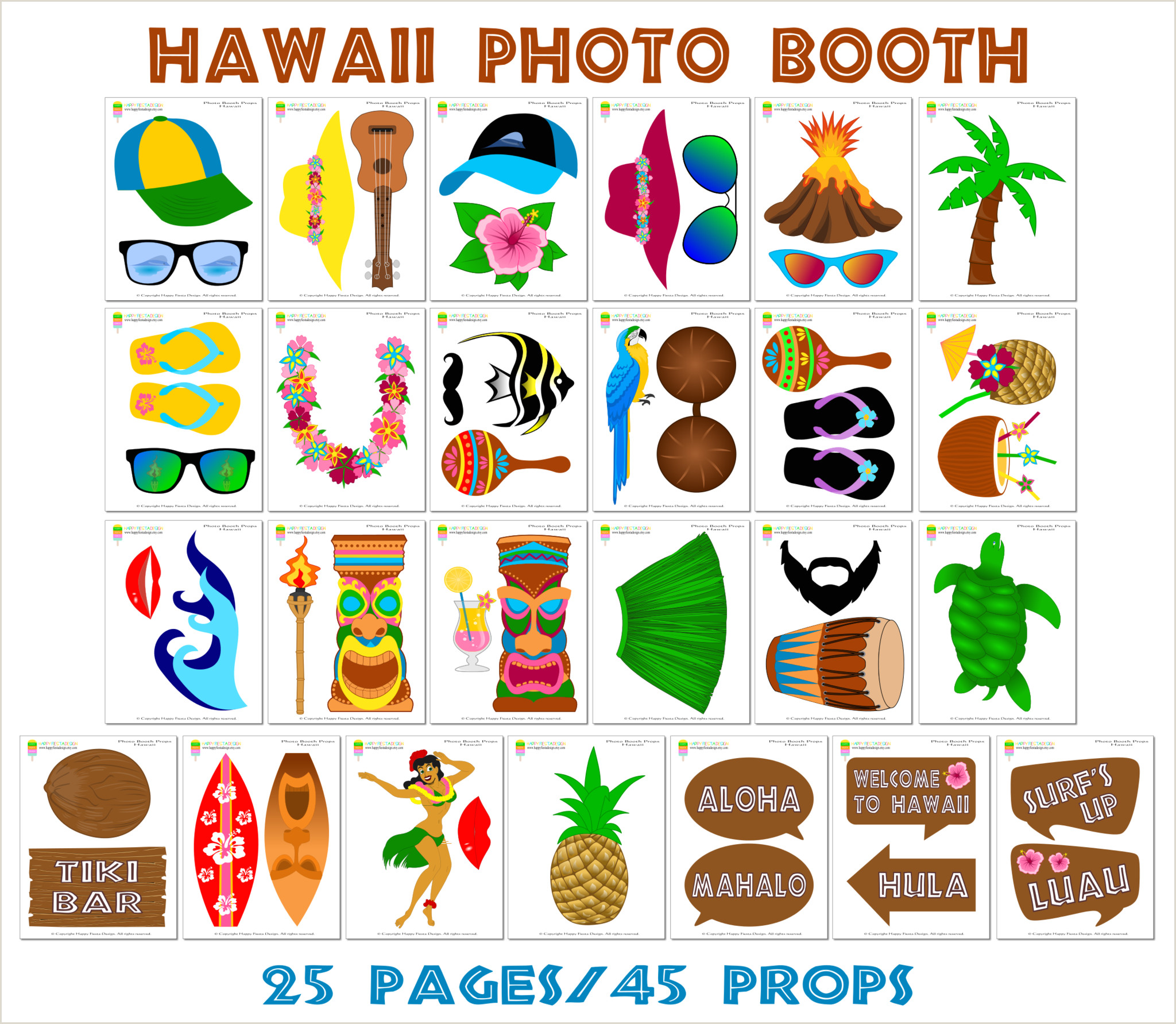 Photo Booth Props Templates Printable Hawaii Booth Props Luau Party Props
