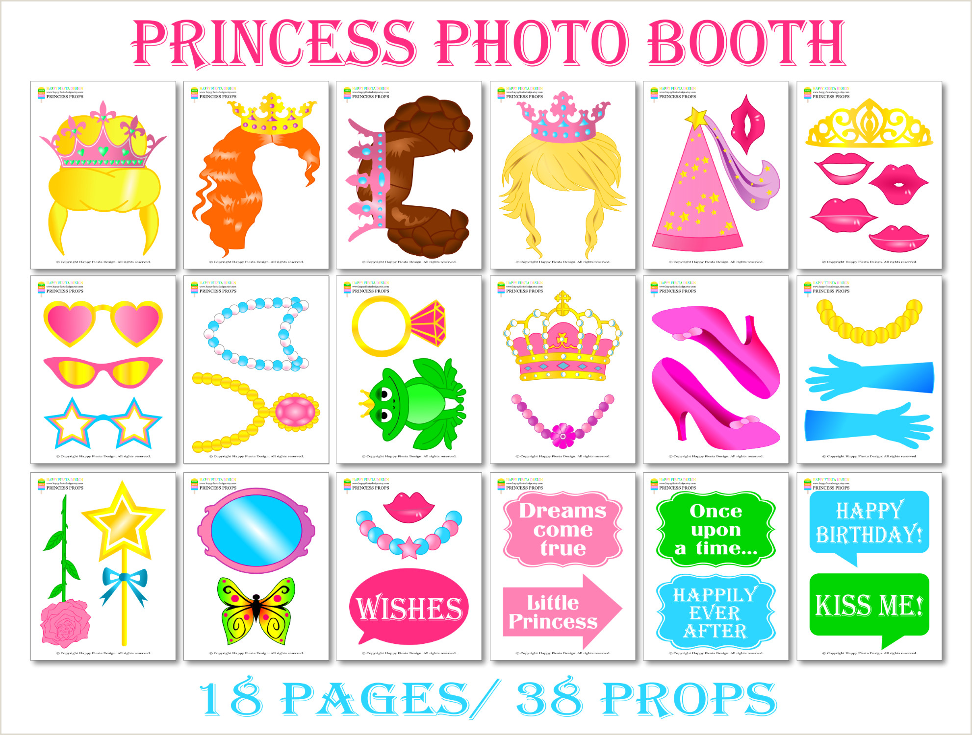 Photo Booth Props Templates Printable Princess Booth Props Princess Props