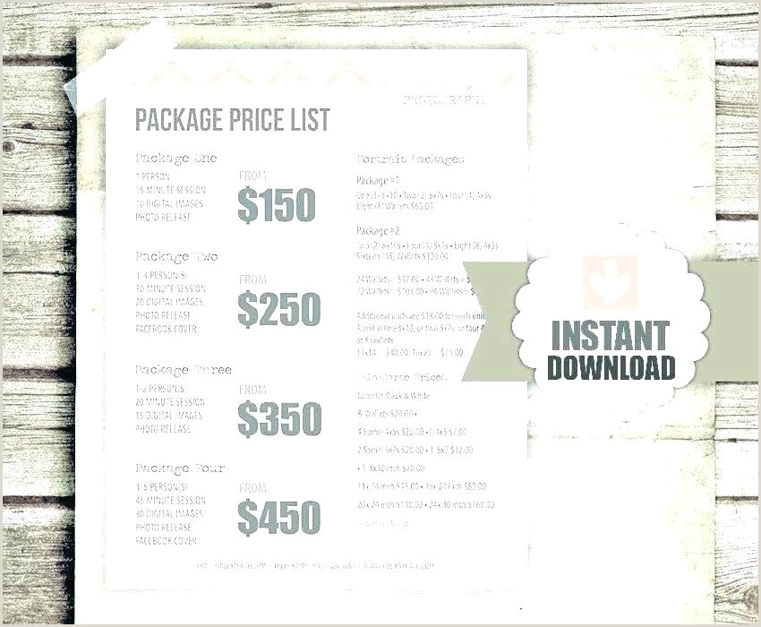 Photography Price List Template Word Image 0 Pricing Sheet Template for Graphers Graphy