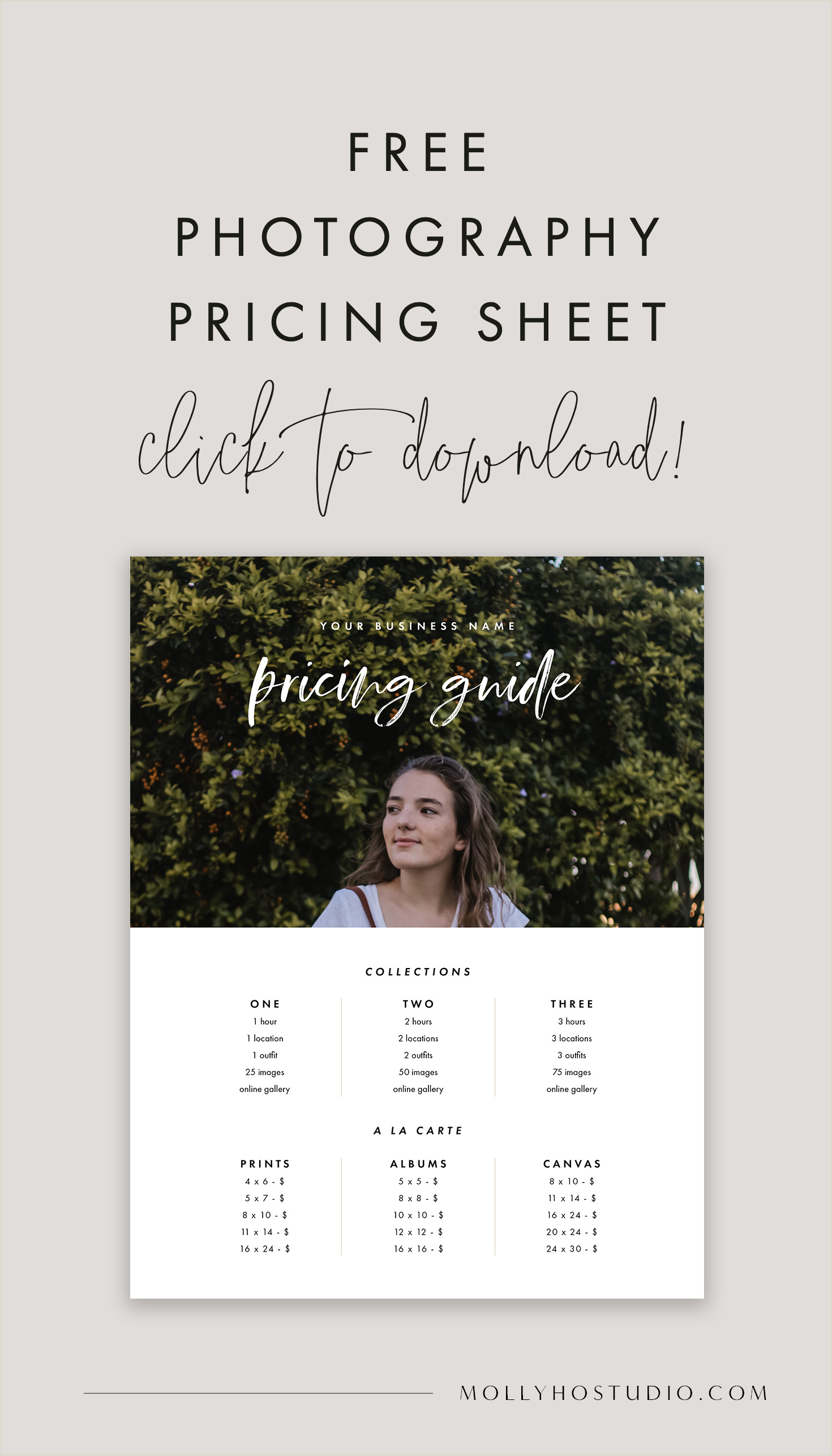 Free graphy Pricing Template