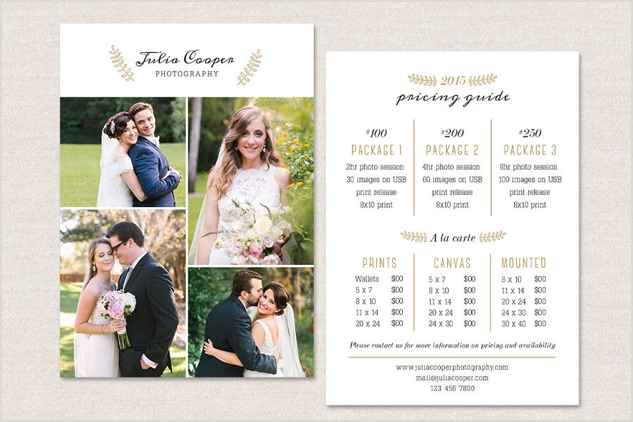 Photography Price Sheet Template Graphy Flyer Pricing Guide