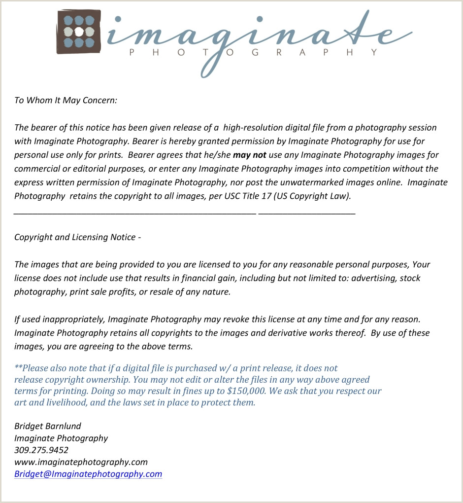 Photography Print Release Wording Graphy Print Release form Free