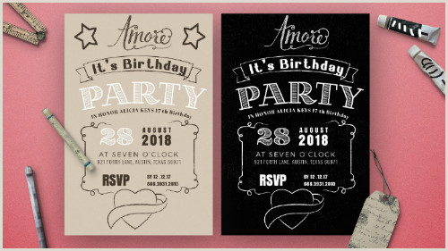 Photoshop Party Invitation Template 14 Creative Chalkboard Birthday Invitation Templates