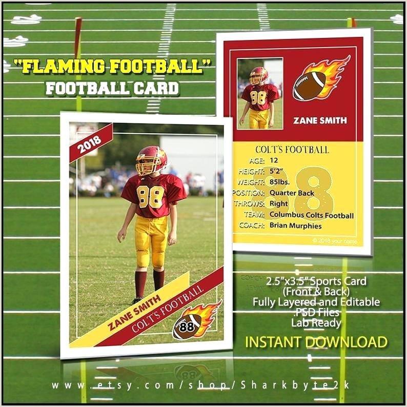 Photoshop Sports Templates Football Card Template Perfect for Trading Cards Play Image