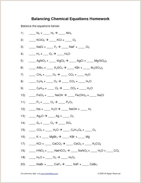Chemical Reaction Worksheet Answers Printable Types