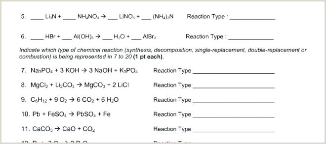 Types Chemical Reaction Worksheet Answers Six 7 20