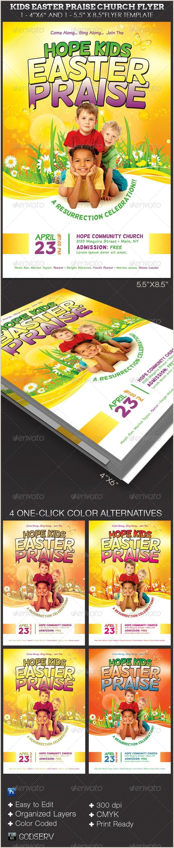 Kids Easter Praise Church Flyer Template — shop PSD