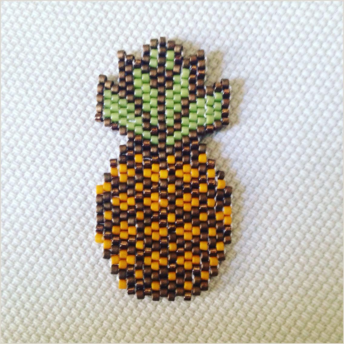 Pineapple Cut Out Template Miyuki Brick Stitch Ananas Beaded Food