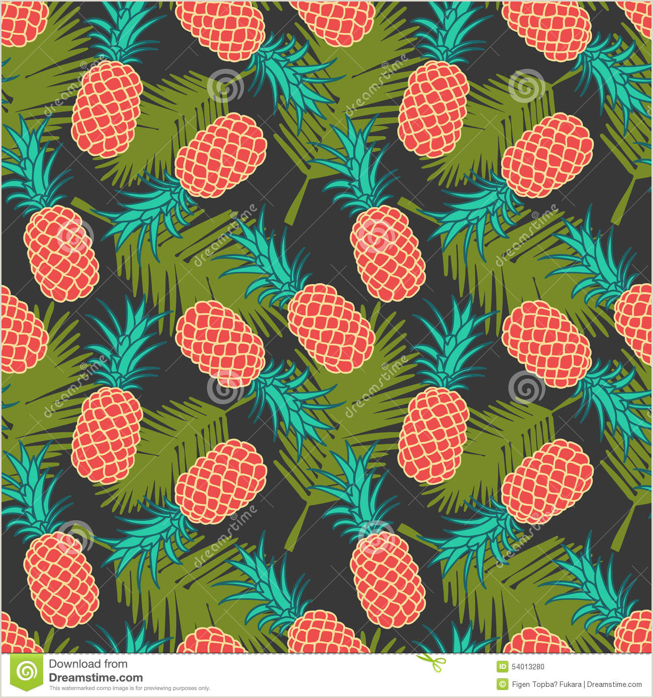Pineapple Cut Out Template Seamless Pineapple Pattern Stock Vector Illustration Of