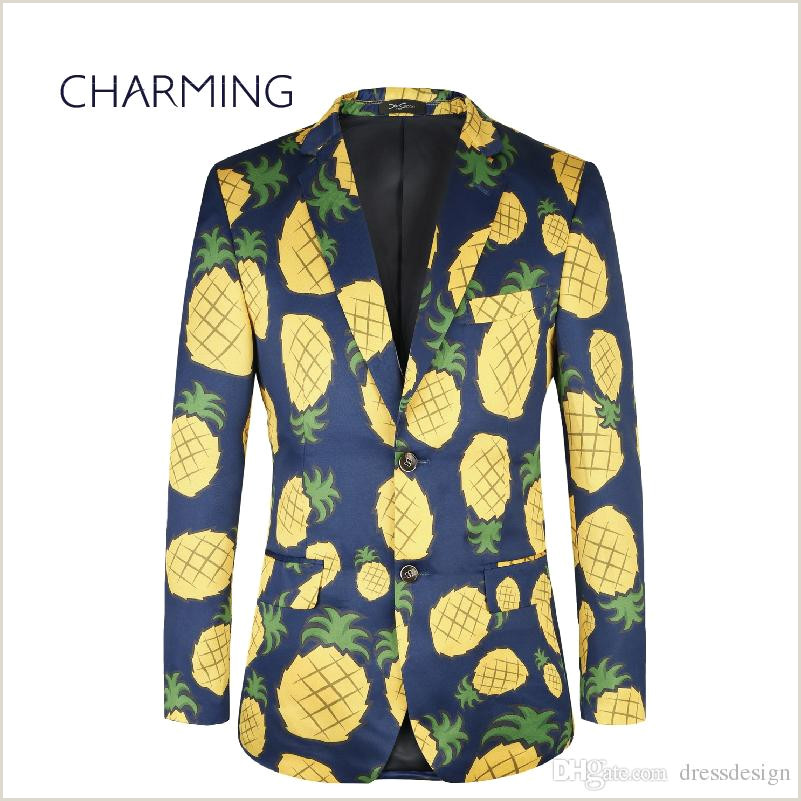 Pineapple Cut Out Template Suits for Young Men Pineapple Pattern European Size Men S Printed Suit Mens Suits Big Sizes Mens Suits Piece Designs