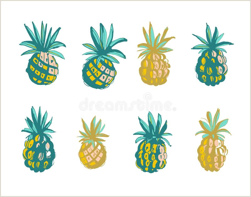 Tropical Ananas Pineapple Fruit Seamless Pattern White
