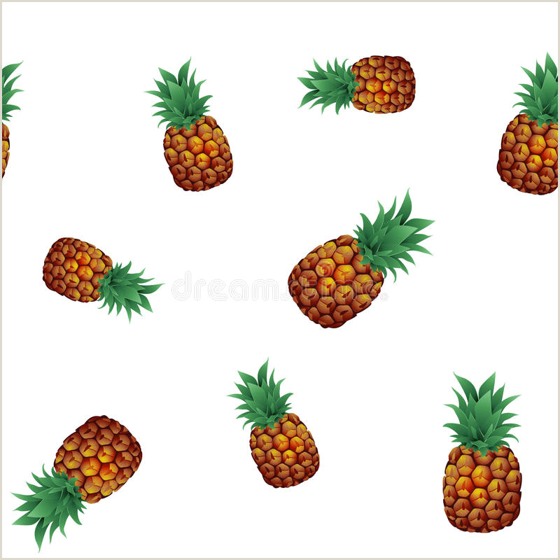 Tropical Ananas Pineapple Fruit Seamless Pattern White