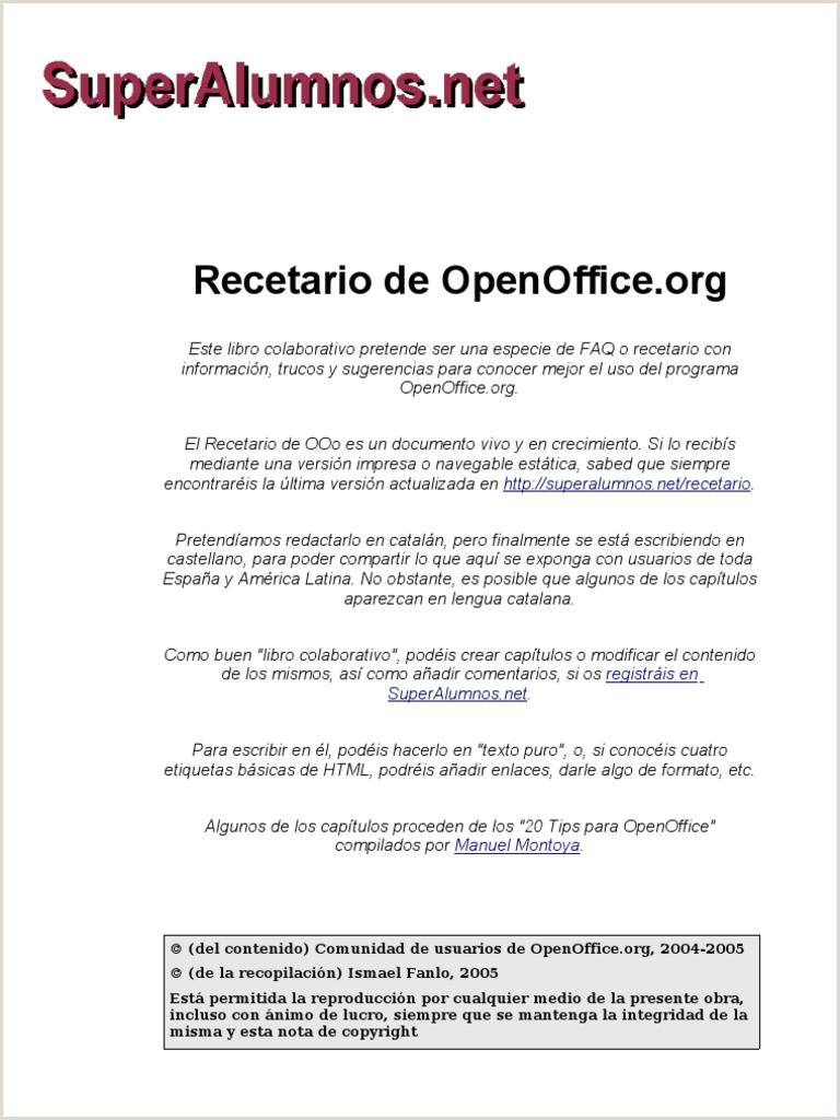 Recetario de Open fice