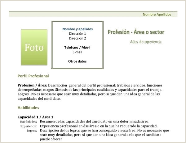 Descripcion De Curriculum Vitae Plantillas De Curr 237 Culum