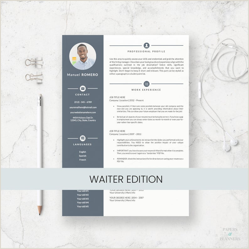 Waiter Resume Template for Microsoft Word Curriculum Vitae for Waiter and Waitress Server Resume Resume Templates