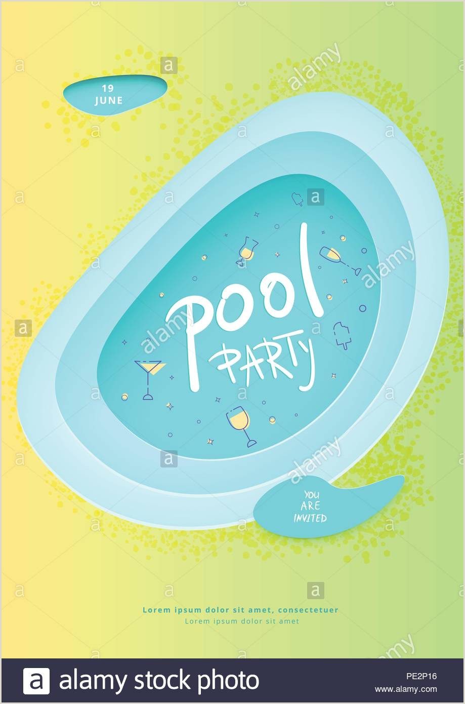 Pool party vertical flyer summer celebration banner with