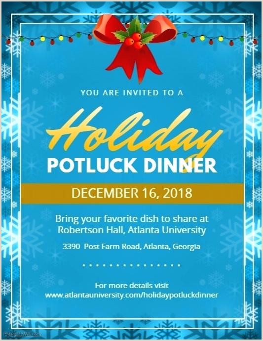 Potluck Party Invitation Blue Potluck Party Flyer Menu Template Free Dinner Design