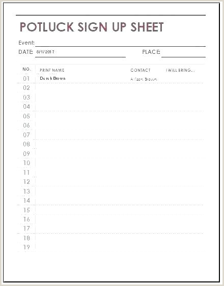Potluck Signup Sheet Excel Conference Room Sign Up Sheet Template