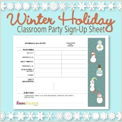 Winter Holiday Classroom Party Sign Up Sheet Potluck Excel