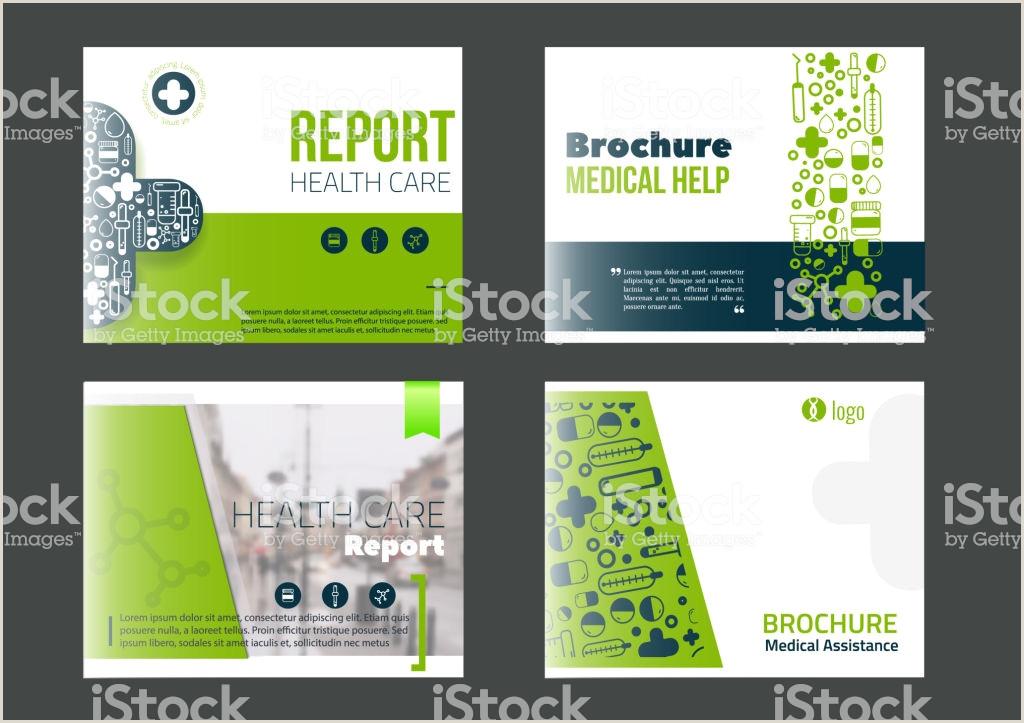 Landscape Medical Brochure Cover Template Set In Green Color