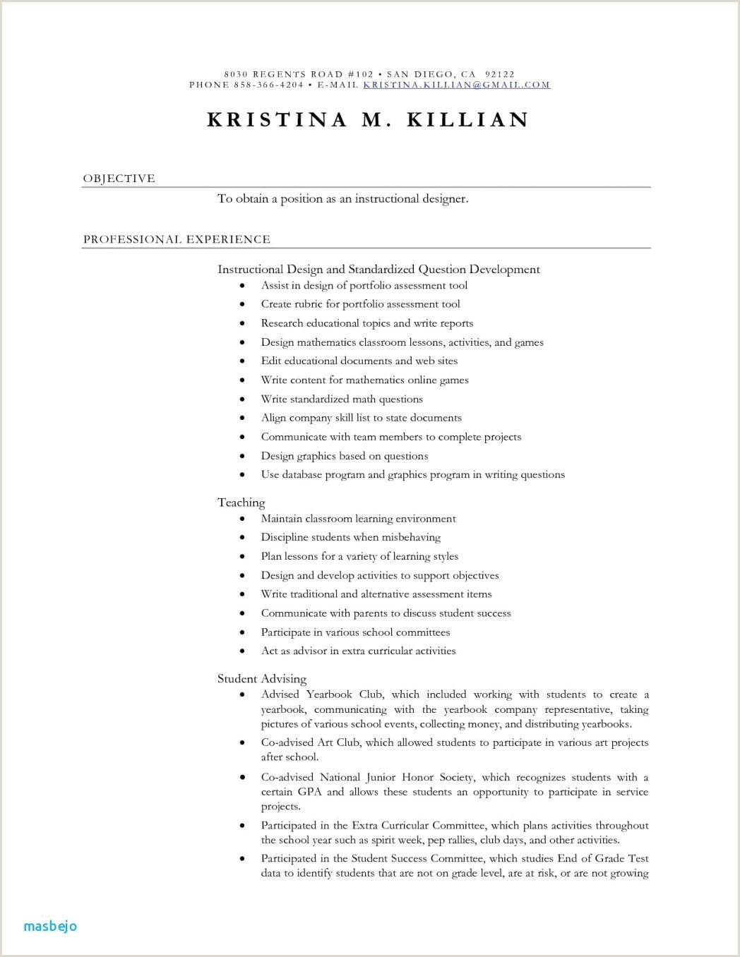 Sample Resume for Teachers without Experience Inspirational