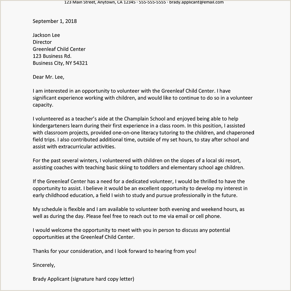 Sample Cover Letter for a Volunteer Position