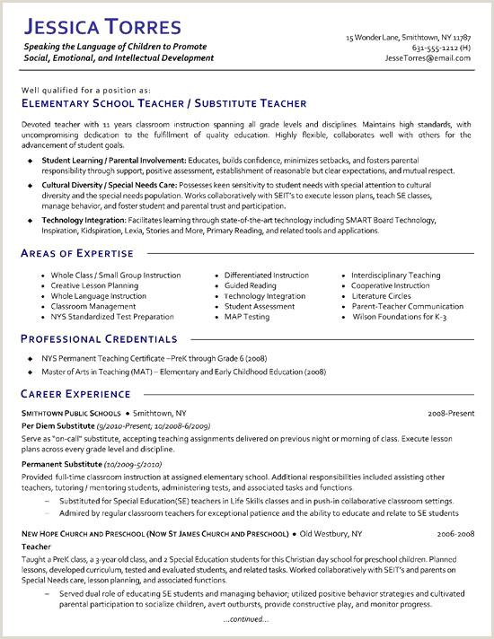 Elementary School Teacher Resume Lovely Teaching Resume