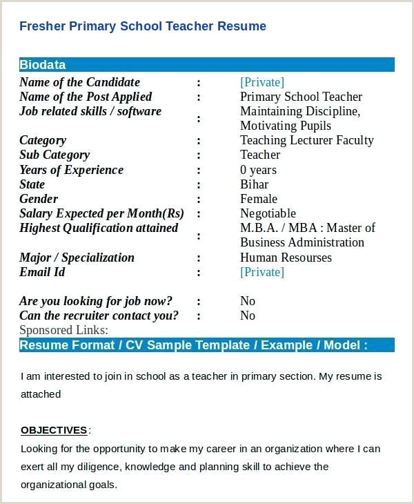 Primary Teacher Resume Resume format for Teacher Job – Dstic