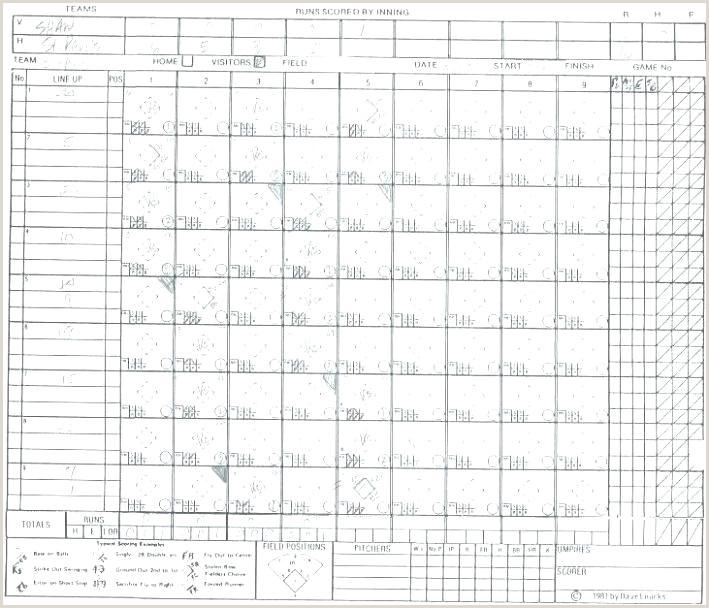 Printable Baseball Scorecard Template Luxury Baseball Score Sheet Template tournament soccer Free