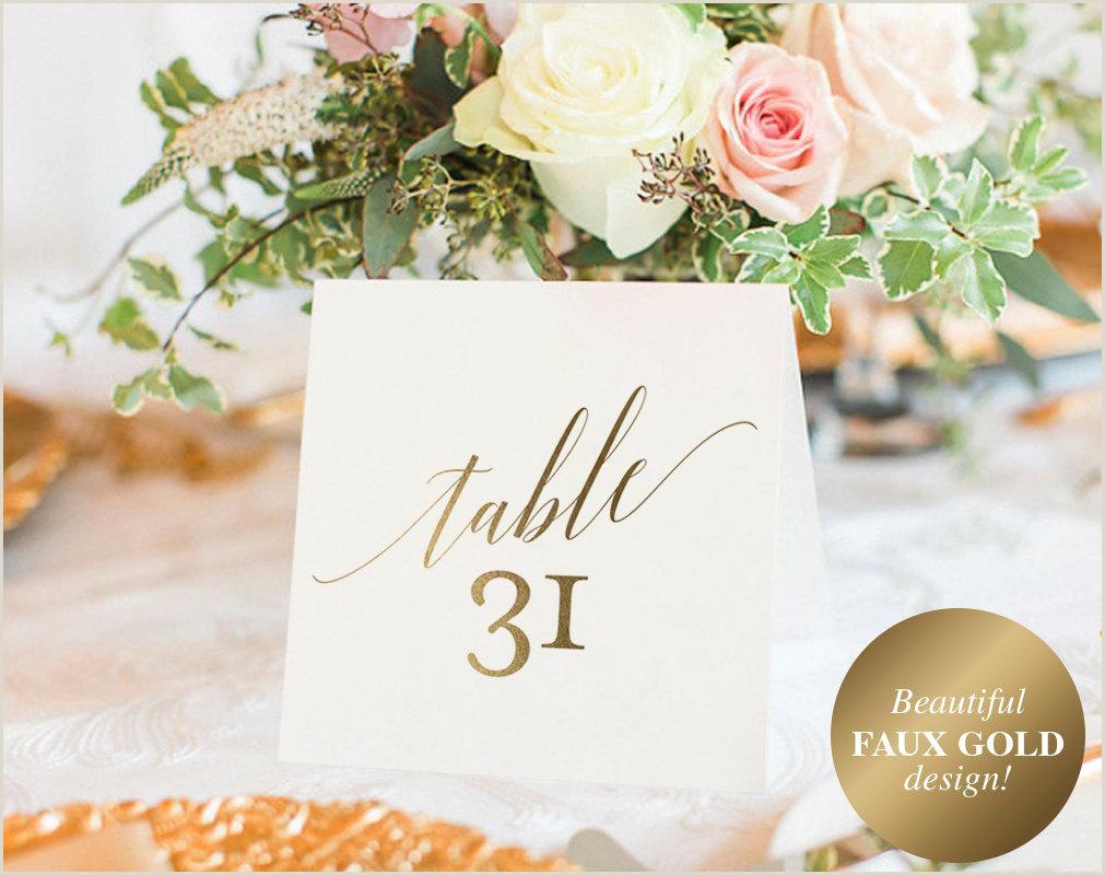 Printable Door Hanger Paper Gold Table Numbers Wedding Table Numbers Table Number Template Wedding Printable Gold Wedding Pdf Instant Download Bpb324 7