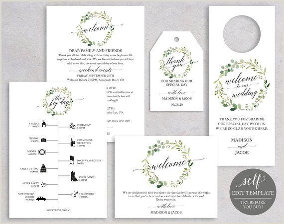 Wedding Guest Wel e Bundle Door Hanger Wel e Bag Label