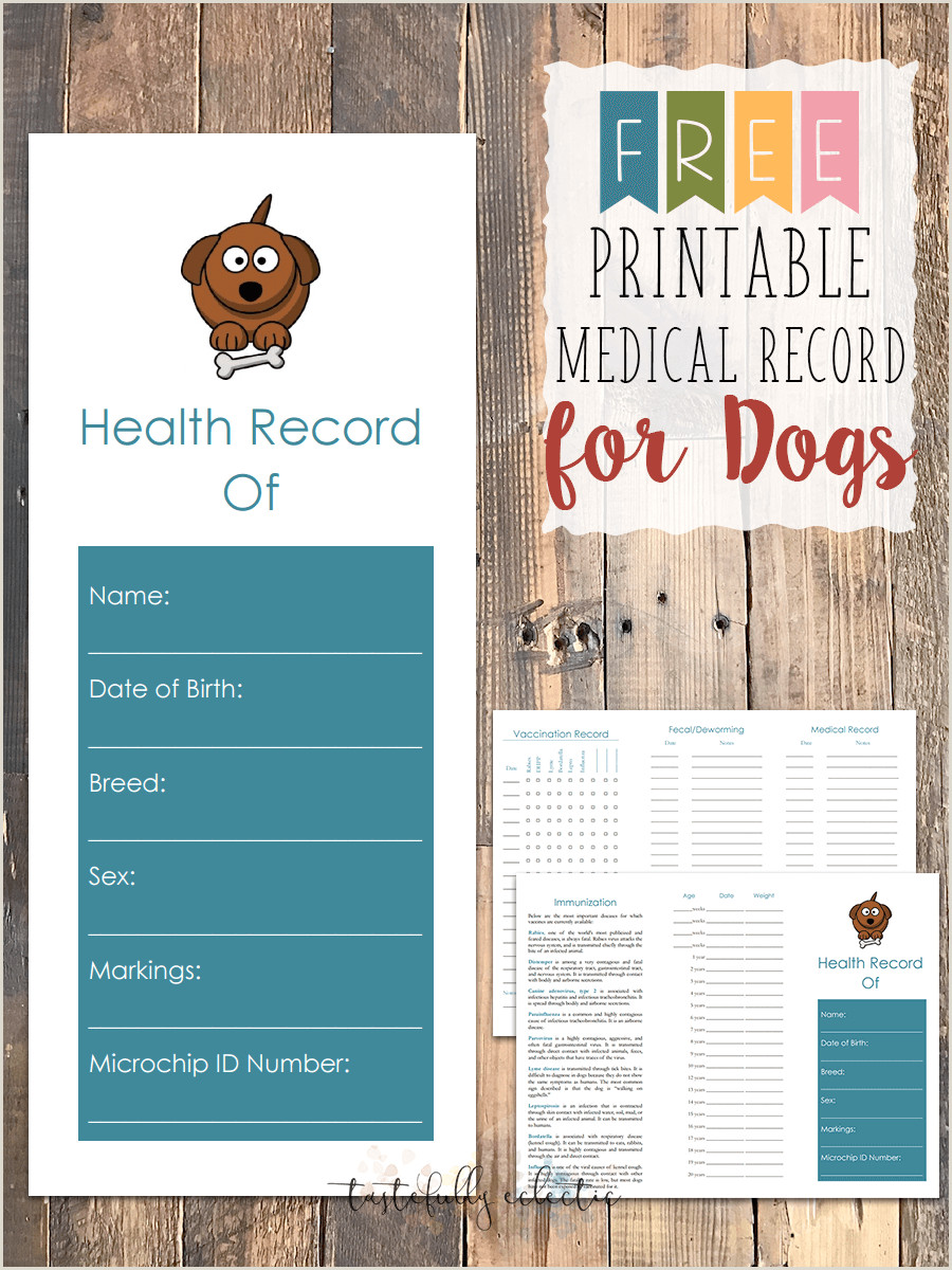 Printable Family Health History form Free Printable Medical Record for Dogs Tastefully Eclectic