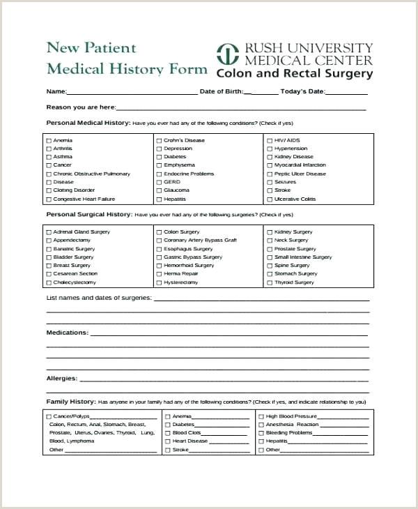 Medical History Form Dental