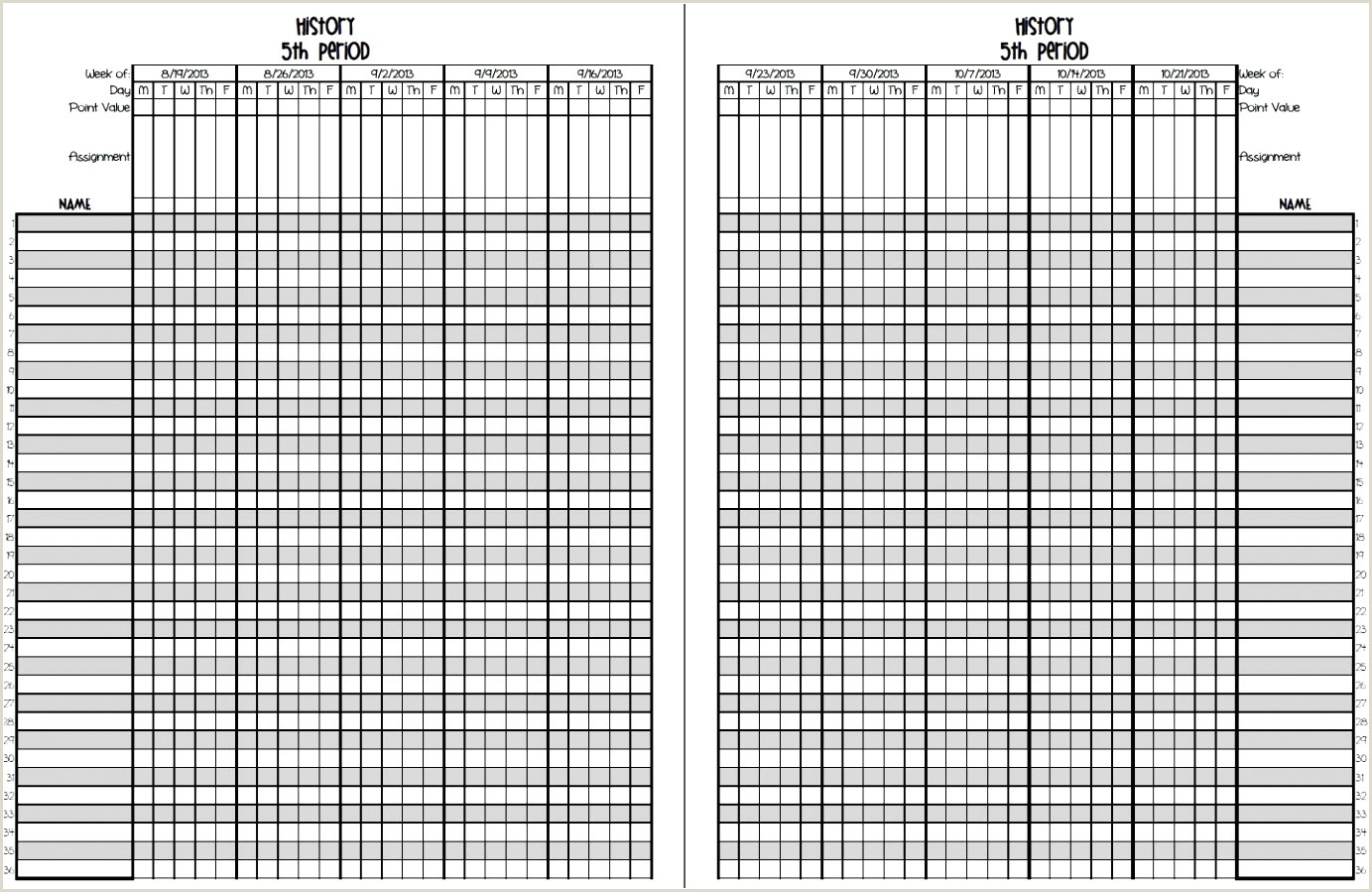 teacher gradebook printable Sadafrpentersdaughter
