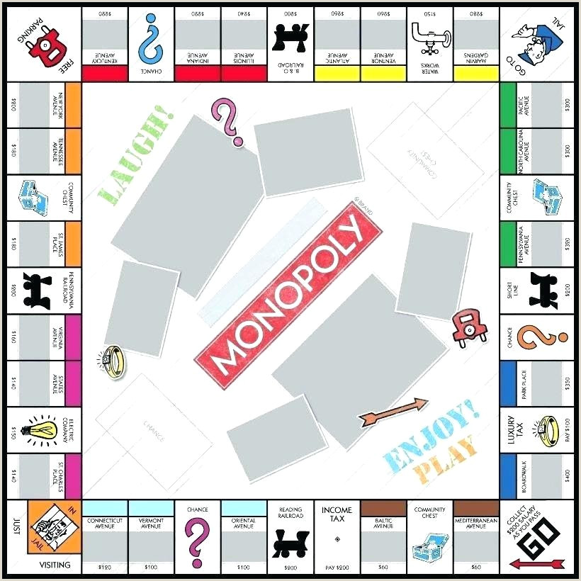 Monopoly Template Monopoly Template For Monopoly Game Board