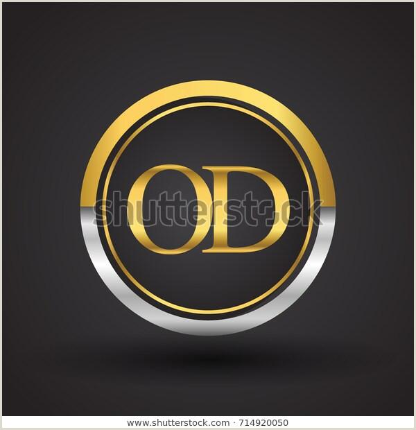 Image vectorielle de stock de Od Letter Logo Circle Gold