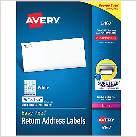 "Avery Easy Peel Permanent Laser Address Labels Return 1 2"" x 1 3 4"" FSC Certified White Pack 8 000 Item"