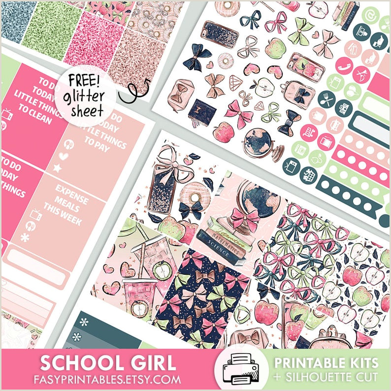 School Girl KIT printable silhouette cut file printable planner stickers Erin Condren Life Planner