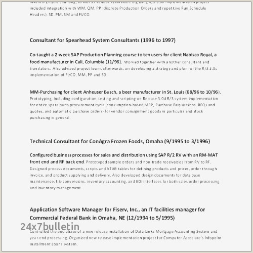 Production Leader Resume Sample Resume for Sap Pp New Sap Pp Fresher Resume