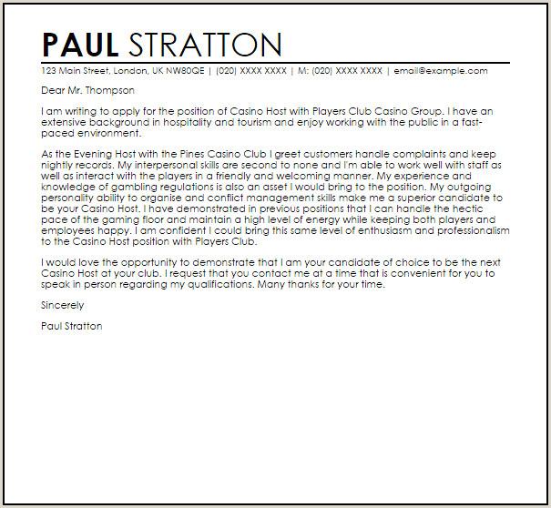 Casino Host Cover Letter Sample