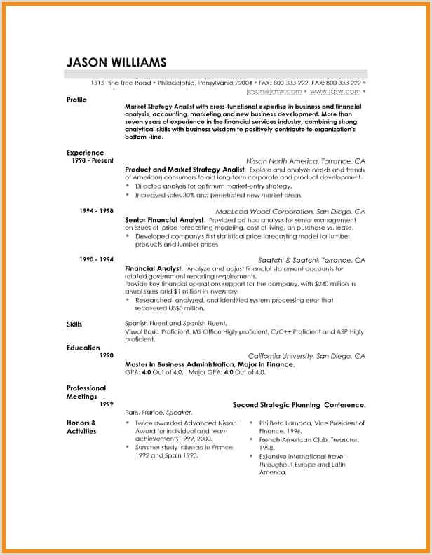 Resume Template Marketing Free Cv Marketing Exemple Modele