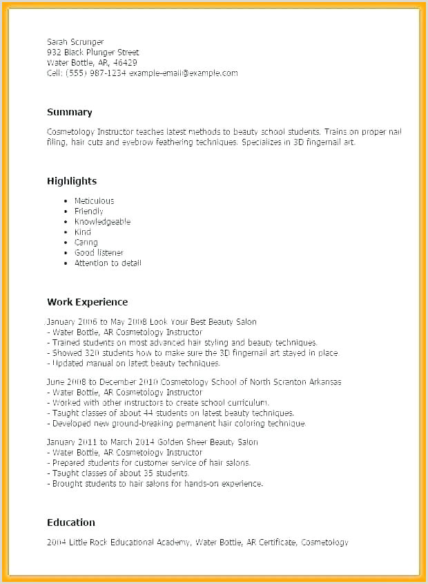 Professional Beautician Cv format Beautician Resume Template Mood Templates Definition