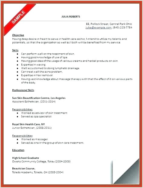 Professional Beautician Cv format Esthetician Resume Template – Growthnotes