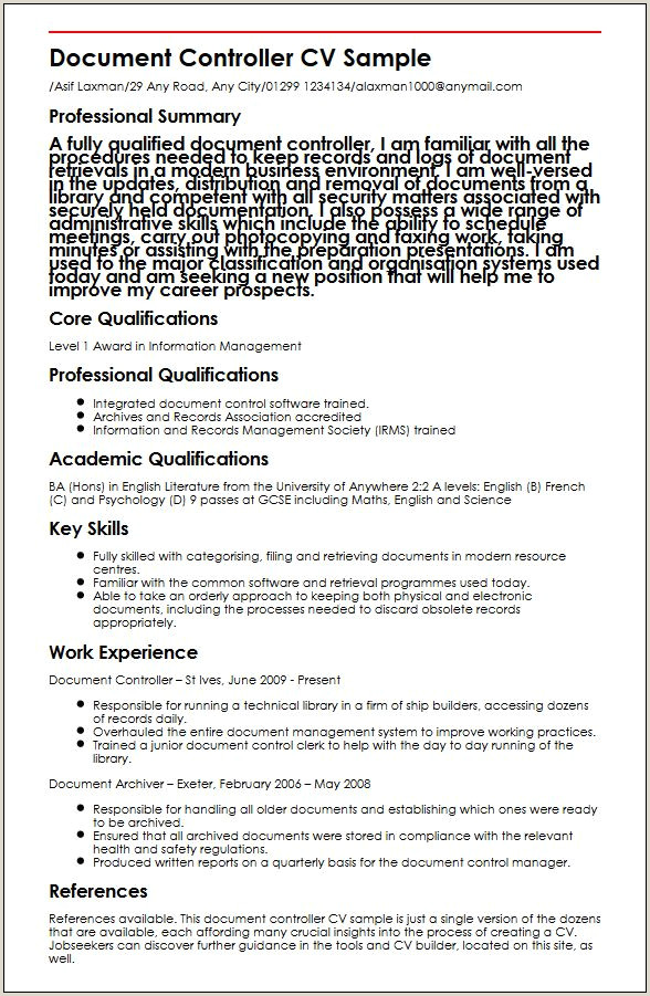 Professional Cv Examples 2018 Uk Document Controller Cv Sample Myperfectcv