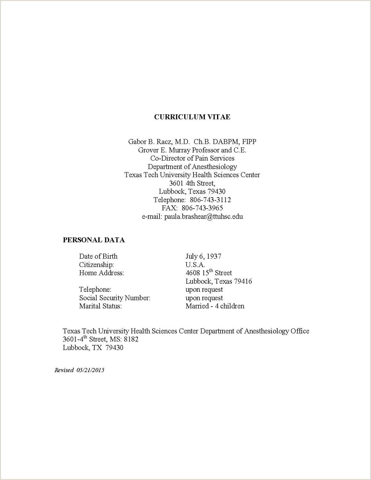 Professional Cv format 2 Pages Curriculum Vitae