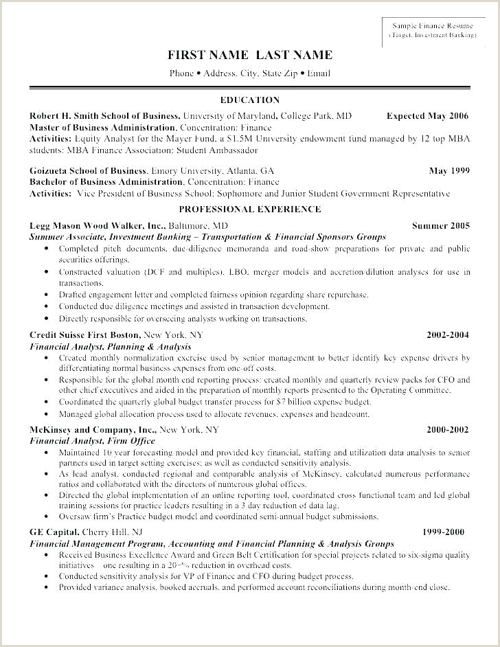 Investment Banking Cv Template Banker Resume Template