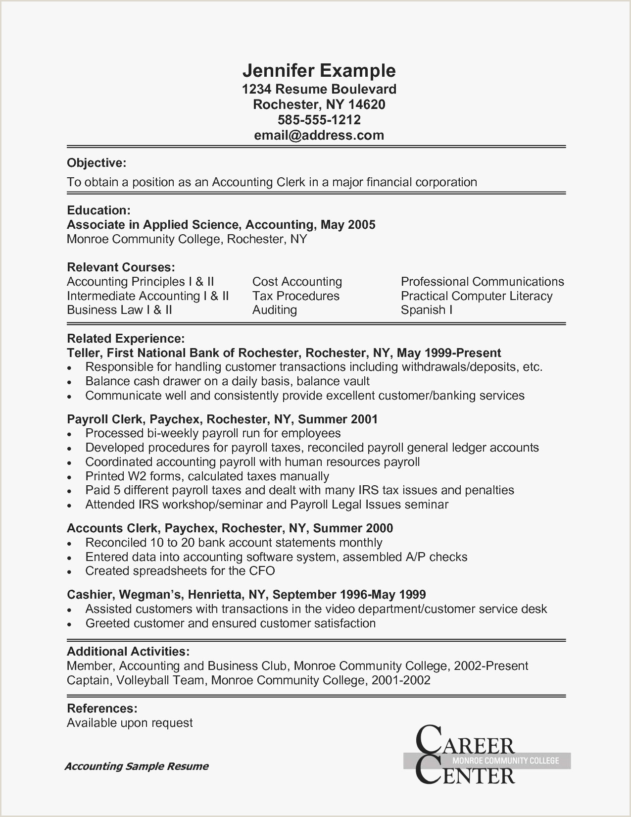 Sample Resume College Administrative Assistant New Executive