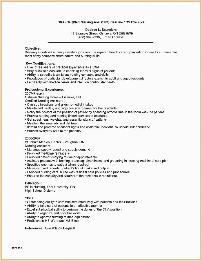 Cna Resume Template Microsoft Word New Sample Cna Resume