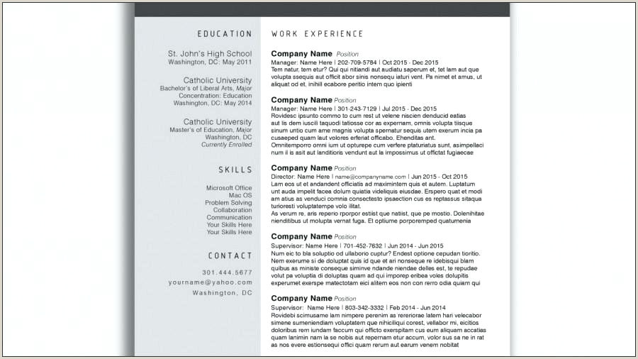 Creative Resume Template Word Best Trendy Templates