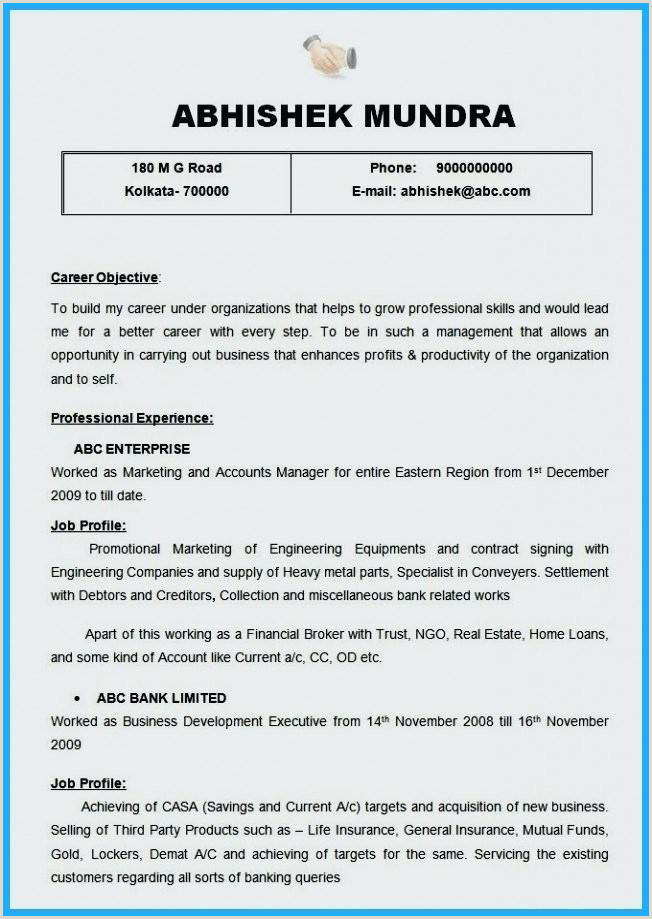 Professional Cv format for A Bank Job Engineering Resume Templates Word – Joefitnessstore